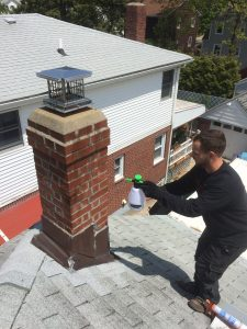 Waterproofing a chimney in Long Island using a chimneysaver product